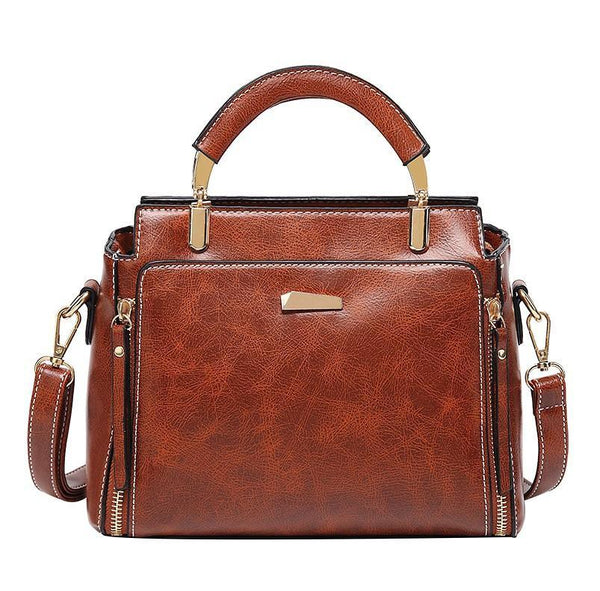 Trendinggate.com brown 2019Korean version of the new large-capacity handbags waxed leather handbags retro trendy women's fashion shoulder Messenger bag