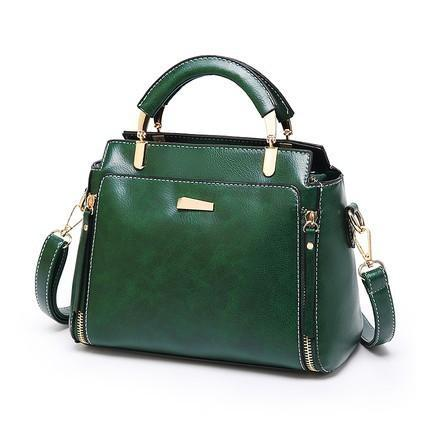 Trendinggate.com Green 2019Korean version of the new large-capacity handbags waxed leather handbags retro trendy women's fashion shoulder Messenger bag