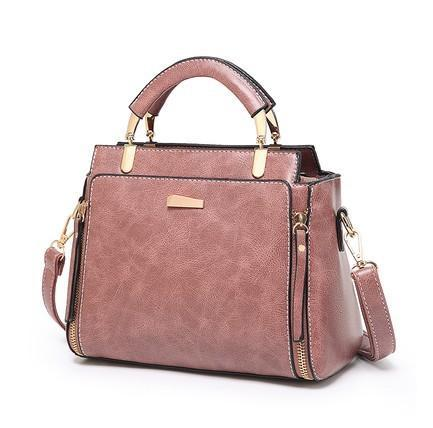 Trendinggate.com Pink 2019Korean version of the new large-capacity handbags waxed leather handbags retro trendy women's fashion shoulder Messenger bag