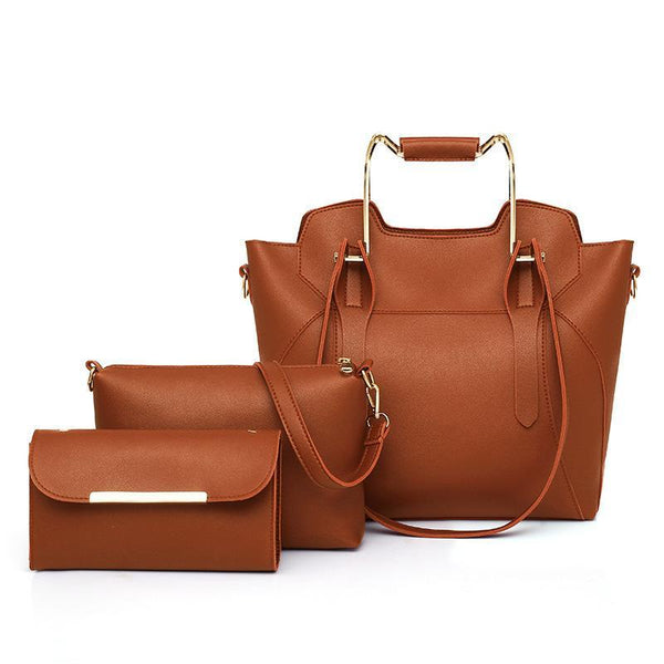 Trendinggate.com brown 2019New European and American fashion solid color hand bill of lading shoulder slung large capacity three-piece condom mother bag women bag