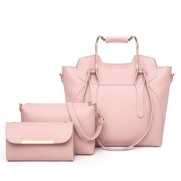 Trendinggate.com rose hermosa 2019New European and American fashion solid color hand bill of lading shoulder slung large capacity three-piece condom mother bag women bag