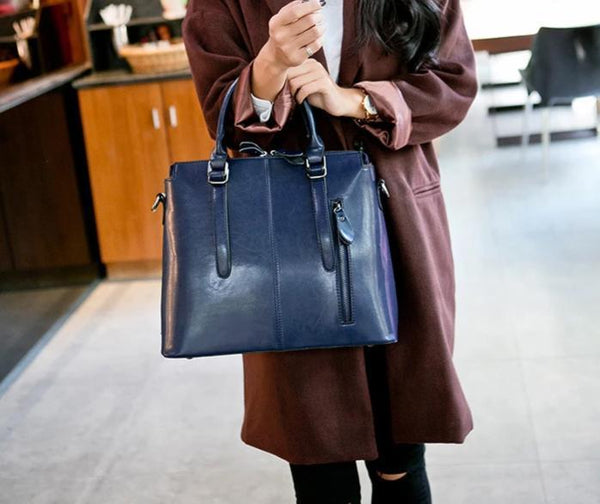 Trendinggate.com Blue 2019New European and American style leather women's bag fashion women's hand-held messenger one shoulder oil wax cow leather bag wholesale trend