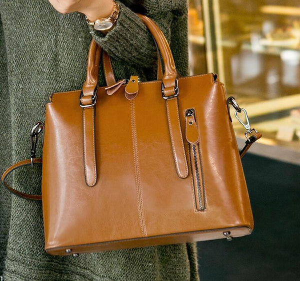 Trendinggate.com Earth yellow 2019New European and American style leather women's bag fashion women's hand-held messenger one shoulder oil wax cow leather bag wholesale trend