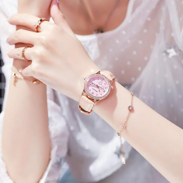 Trendinggate.com 2019New fashion trend night light watch schoolgirl simple model casual waterproof small fresh double calendar table