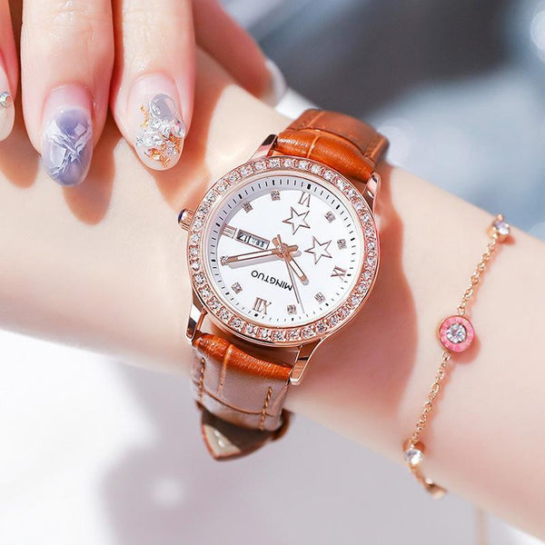 Trendinggate.com T2301白面紫带 2019New fashion trend night light watch schoolgirl simple model casual waterproof small fresh double calendar table