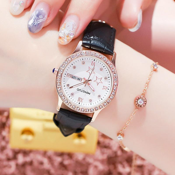 Trendinggate.com T2301白面黑带 2019New fashion trend night light watch schoolgirl simple model casual waterproof small fresh double calendar table