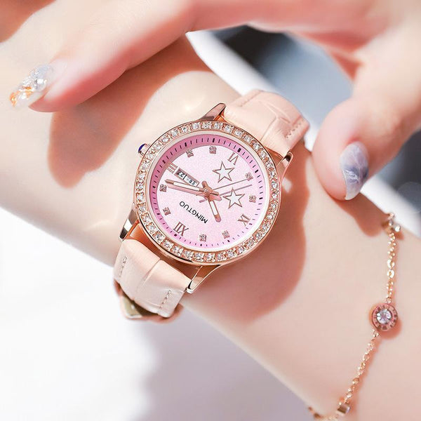 Trendinggate.com T2301Flour tape 2019New fashion trend night light watch schoolgirl simple model casual waterproof small fresh double calendar table