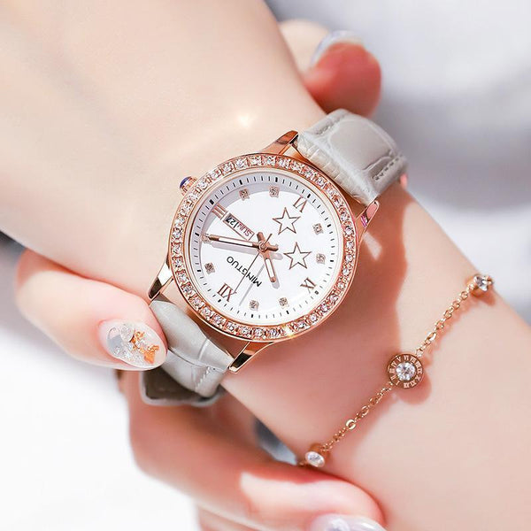 Trendinggate.com T2301White brown belt 2019New fashion trend night light watch schoolgirl simple model casual waterproof small fresh double calendar table