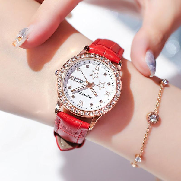 Trendinggate.com T2301White-faced red belt 2019New fashion trend night light watch schoolgirl simple model casual waterproof small fresh double calendar table