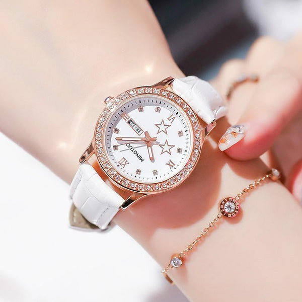 Trendinggate.com T2301White leucorrhea 2019New fashion trend night light watch schoolgirl simple model casual waterproof small fresh double calendar table