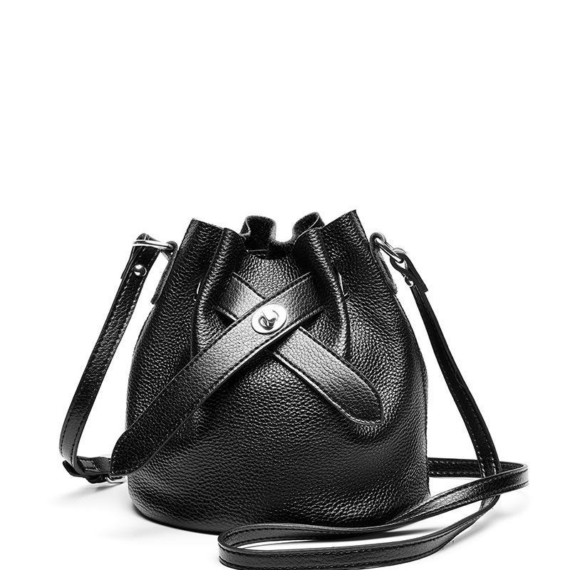 Trendinggate.com Black 2019New fashionable ladies bags with simple temperament, one shoulder inclined bag, leather top layer, cowhide bucket and ladies bag