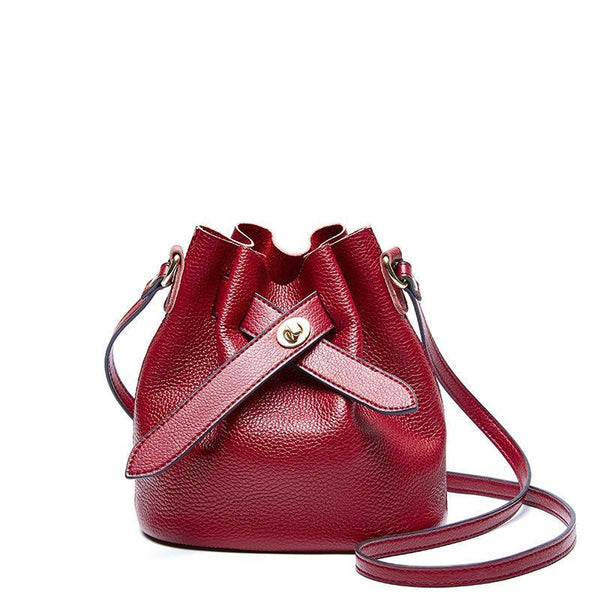 Trendinggate.com Claret 2019New fashionable ladies bags with simple temperament, one shoulder inclined bag, leather top layer, cowhide bucket and ladies bag