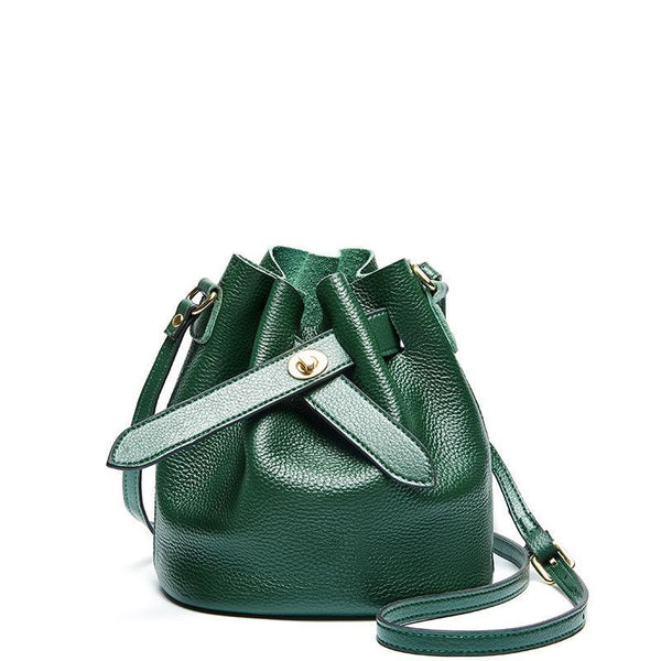 Trendinggate.com green 2019New fashionable ladies bags with simple temperament, one shoulder inclined bag, leather top layer, cowhide bucket and ladies bag