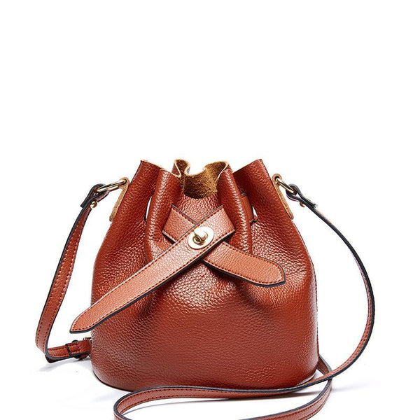 Trendinggate.com khaki 2019New fashionable ladies bags with simple temperament, one shoulder inclined bag, leather top layer, cowhide bucket and ladies bag