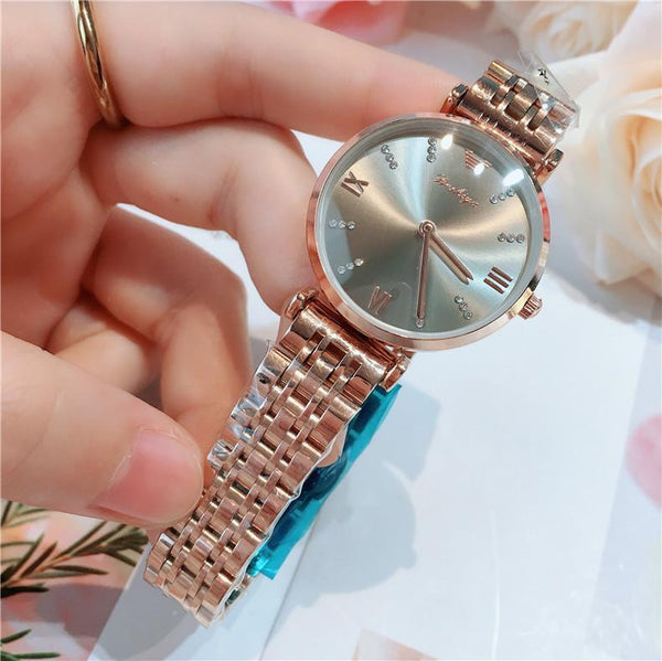 Trendinggate.com 全玫金灰面 2019New lady's All-Star watch Taobao tremble net popular fashion steel band waterproof watch watches