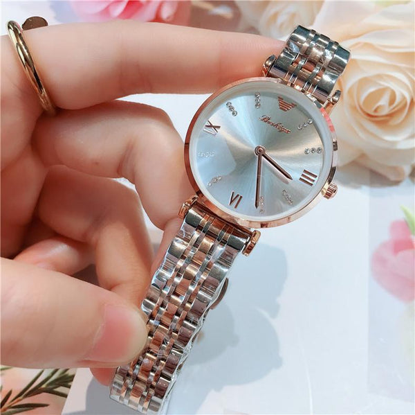 Trendinggate.com Between gold and white noodles 2019New lady's All-Star watch Taobao tremble net popular fashion steel band waterproof watch watches