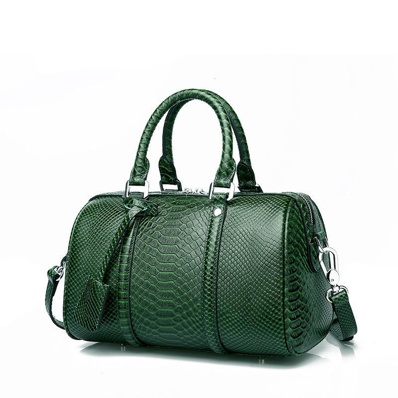 Trendinggate.com 2019New leather women's bag fashion in Europe and the United States first layer leather bag Boston shoulder portable ladies bag