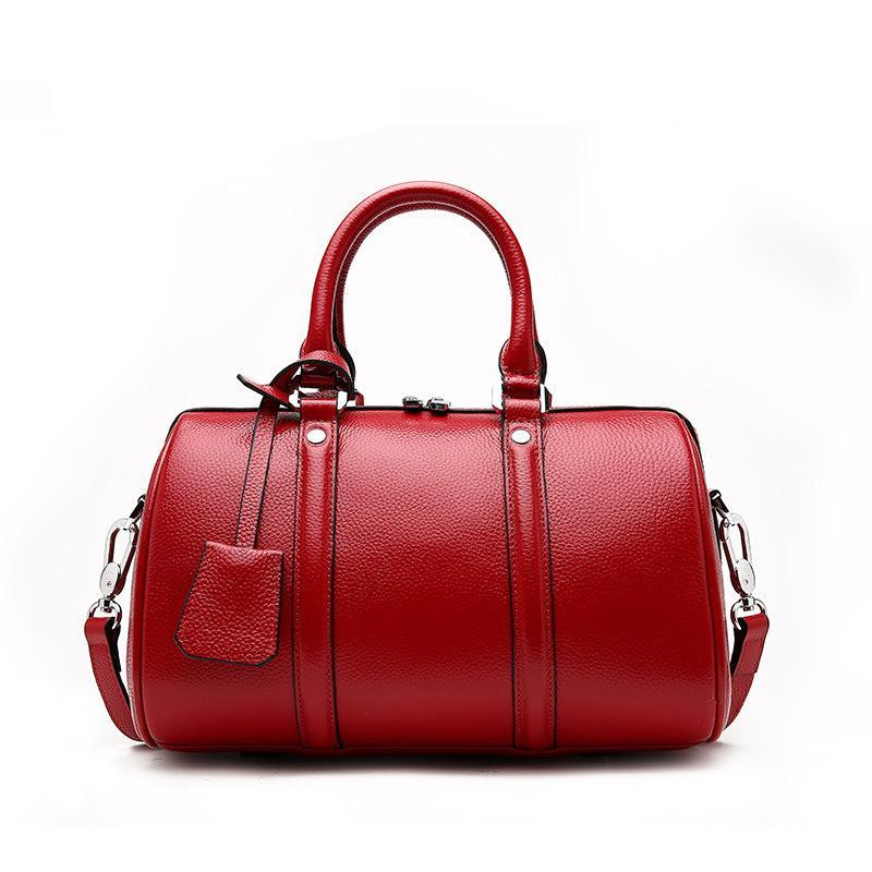 Trendinggate.com Litchi grain wine red 2019New leather women's bag fashion in Europe and the United States first layer leather bag Boston shoulder portable ladies bag