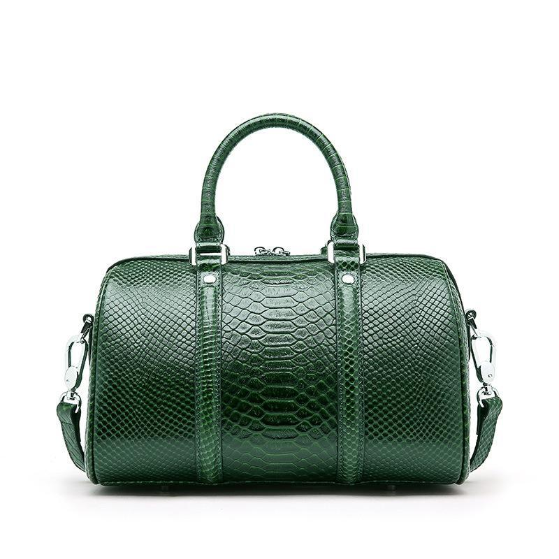 Trendinggate.com Serpentine dark green 2019New leather women's bag fashion in Europe and the United States first layer leather bag Boston shoulder portable ladies bag