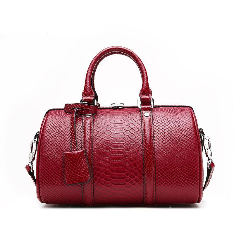 Trendinggate.com Serpentine wine red 2019New leather women's bag fashion in Europe and the United States first layer leather bag Boston shoulder portable ladies bag
