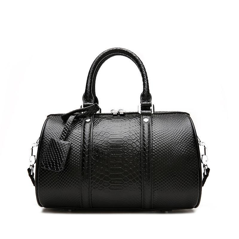 Trendinggate.com Snake black 2019New leather women's bag fashion in Europe and the United States first layer leather bag Boston shoulder portable ladies bag