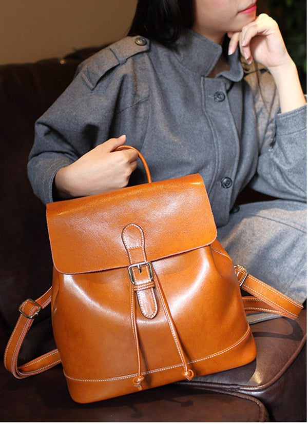 Trendinggate.com 2019New Women's Bag Retro Old Oil Wax Cowskin Shoulder Backpack Women's Leather Travel Student Bag Wholesale