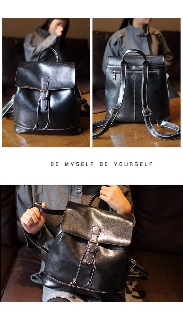 Trendinggate.com black (colour) 2019New Women's Bag Retro Old Oil Wax Cowskin Shoulder Backpack Women's Leather Travel Student Bag Wholesale