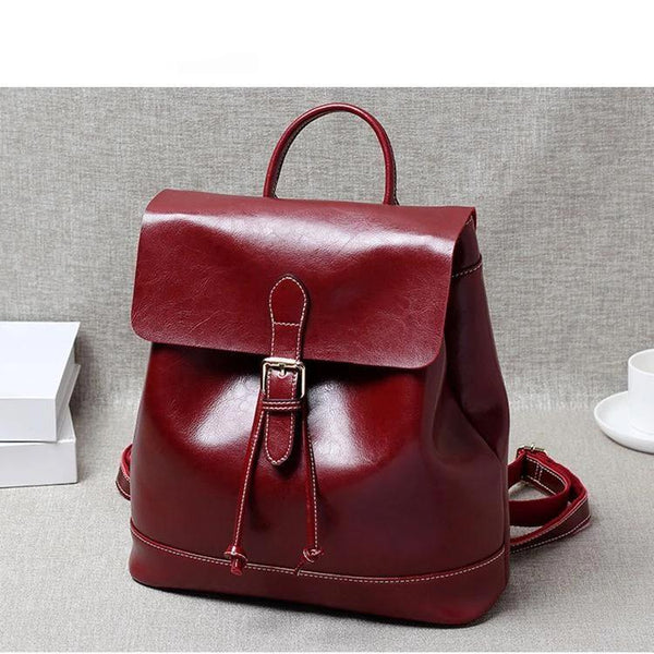 Trendinggate.com Wine red 2019New Women's Bag Retro Old Oil Wax Cowskin Shoulder Backpack Women's Leather Travel Student Bag Wholesale