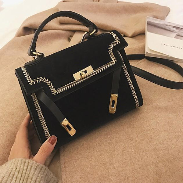 Trendinggate.com black (colour) 2019New Women's Fashion Bags Hand-held Slant Bag Korean version Lock Single Shoulder Bag Classic Kelly Bag