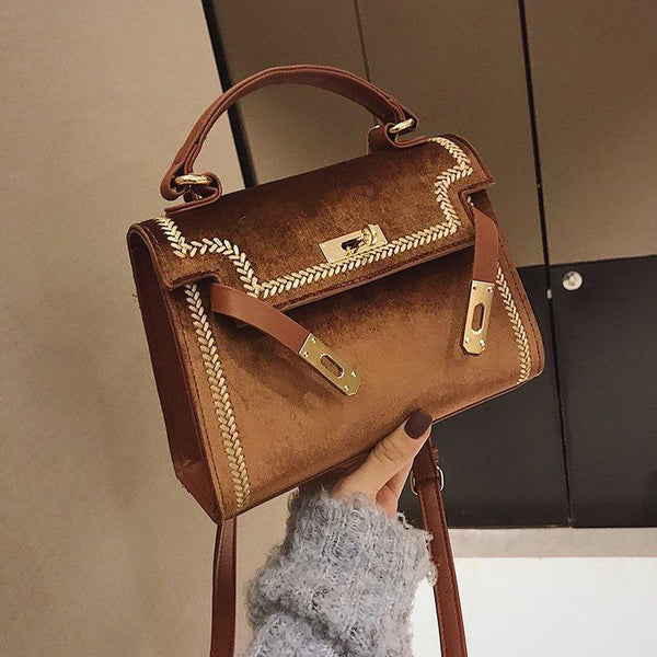 Trendinggate.com brown 2019New Women's Fashion Bags Hand-held Slant Bag Korean version Lock Single Shoulder Bag Classic Kelly Bag