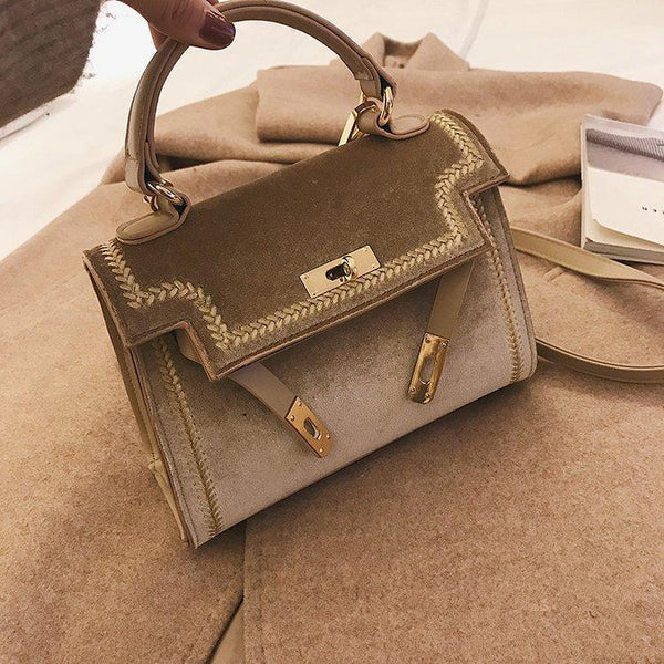 Trendinggate.com [docto]khaki 2019New Women's Fashion Bags Hand-held Slant Bag Korean version Lock Single Shoulder Bag Classic Kelly Bag