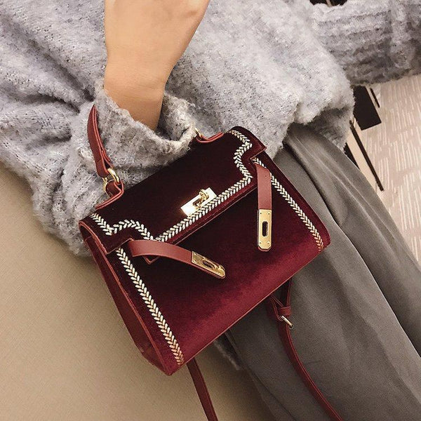 Trendinggate.com red 2019New Women's Fashion Bags Hand-held Slant Bag Korean version Lock Single Shoulder Bag Classic Kelly Bag