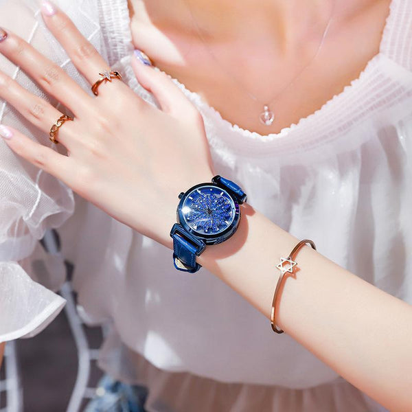 Trendinggate.com Blue shell blue skin 2019New YJ No. 6 Time Running Watch Women Watch Student Fashion Network