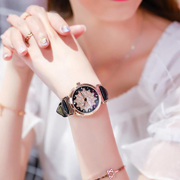 Trendinggate.com Rose shell black skin 2019New YJ No. 6 Time Running Watch Women Watch Student Fashion Network