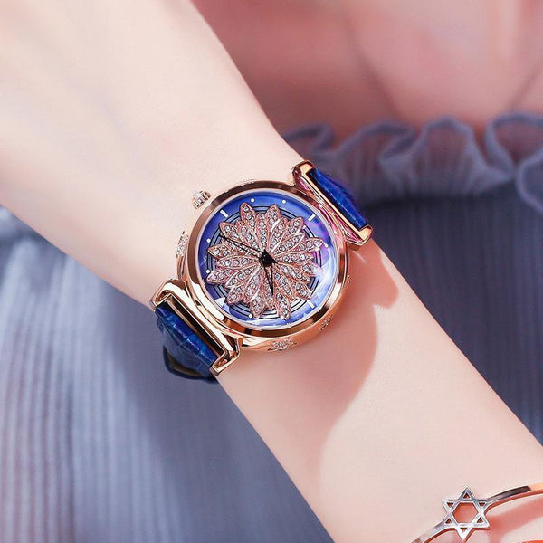 Trendinggate.com Rose shell blue skin 2019New YJ No. 6 Time Running Watch Women Watch Student Fashion Network