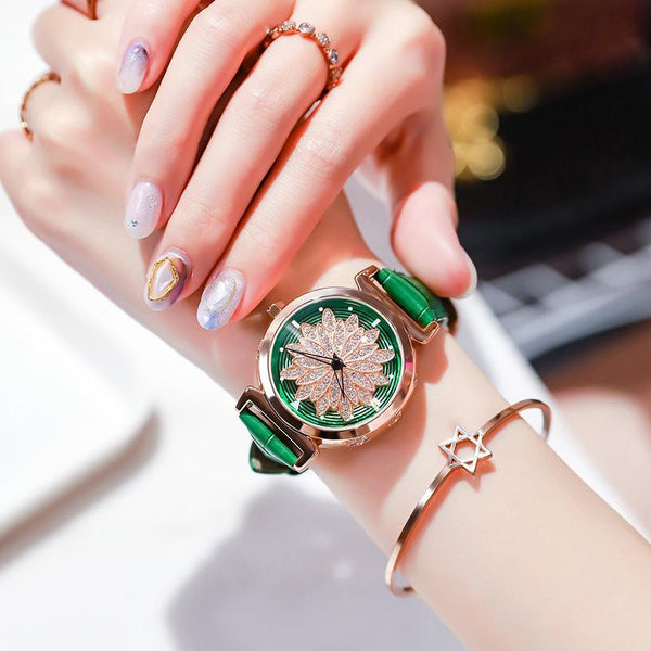 Trendinggate.com Rose shell green face 2019New YJ No. 6 Time Running Watch Women Watch Student Fashion Network