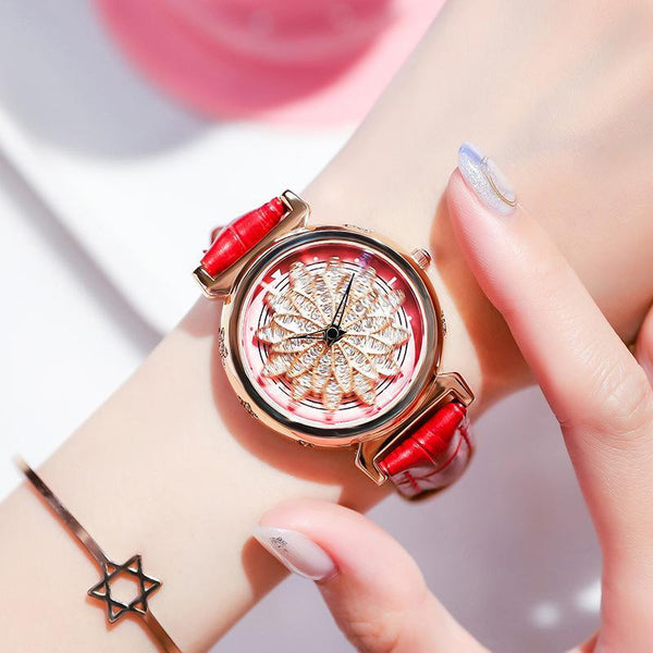 Trendinggate.com Rose shell red skin 2019New YJ No. 6 Time Running Watch Women Watch Student Fashion Network