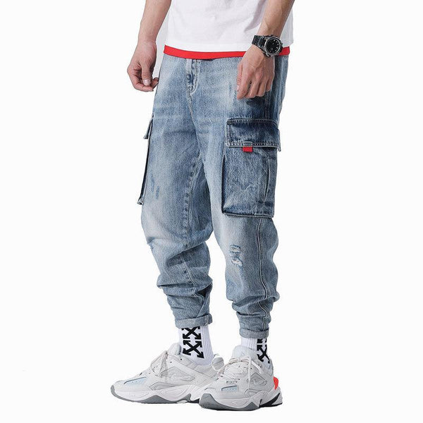 Trendinggate.com 2019Spring and summer new jeans men cotton loose broken hole trousers trend men Harlan pants men pants substitute hai