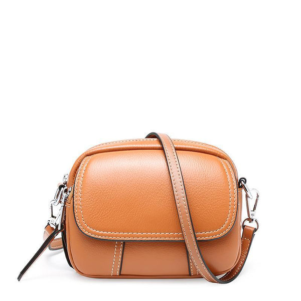 Trendinggate.com Brown 2019Spring and Summer New Women's Bag Fashion Baitao Mini-leather Women's Bag Cowskin Small Round Bag One Shoulder Bag Slant Bag