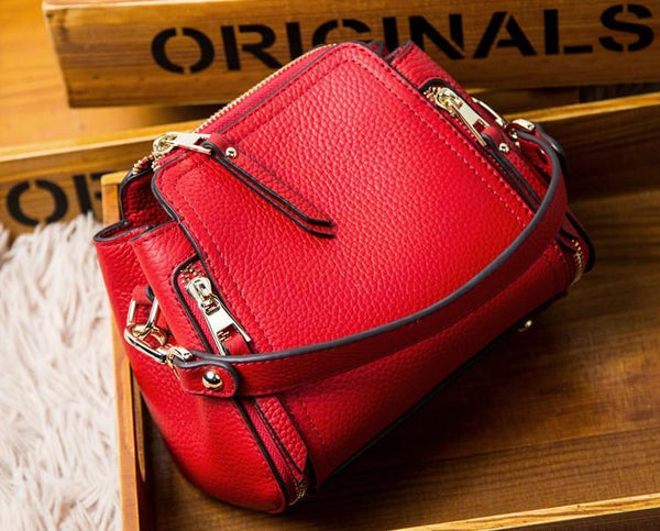 Trendinggate.com Red 2019Spring women's bag, Korean version of real leather bag, women's hand-held new oblique Chao brand single shoulder bag, a surrogate, one piece, one shoulder bag, one shoulder bag.