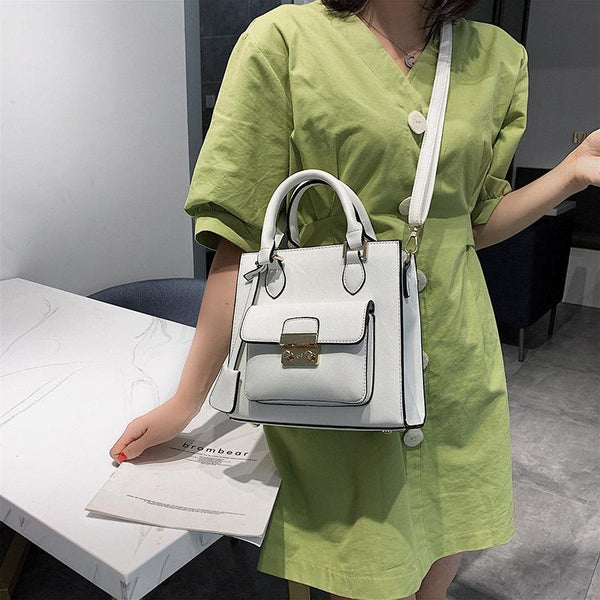 Trendinggate.com 2019The new fashion portable port style retro small square bag Handbags100 solid color leisure single shoulder oblique satchel bag