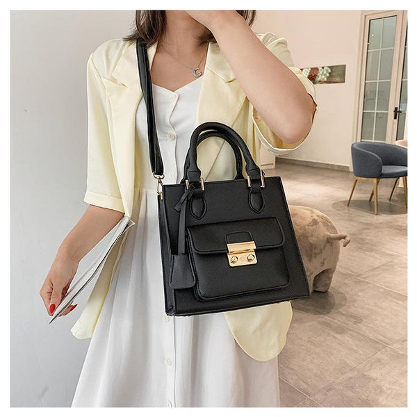 Trendinggate.com Black 2019The new fashion portable port style retro small square bag Handbags100 solid color leisure single shoulder oblique satchel bag