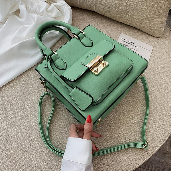 Trendinggate.com green 2019The new fashion portable port style retro small square bag Handbags100 solid color leisure single shoulder oblique satchel bag