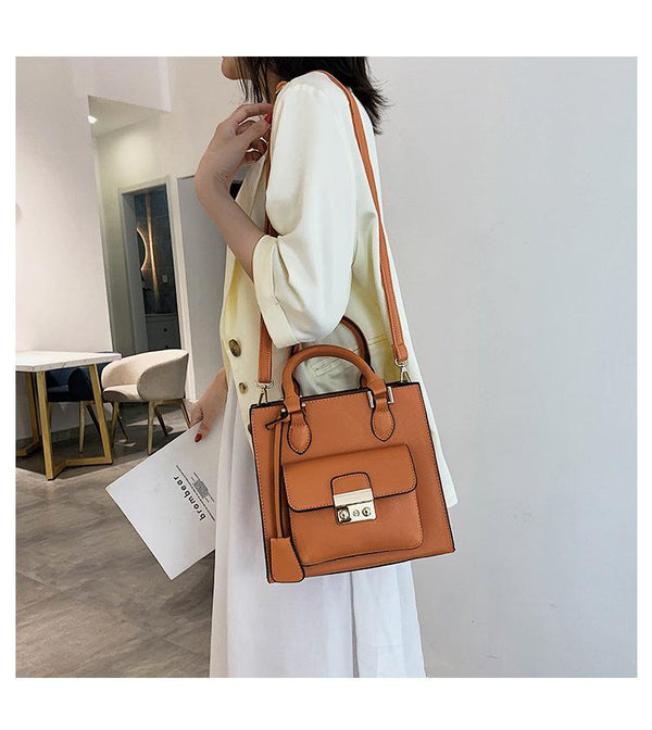 Trendinggate.com orange 2019The new fashion portable port style retro small square bag Handbags100 solid color leisure single shoulder oblique satchel bag
