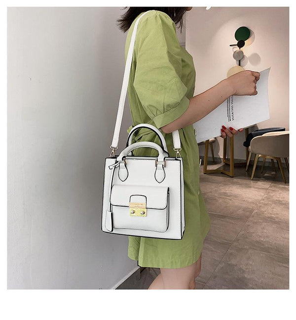 Trendinggate.com White 2019The new fashion portable port style retro small square bag Handbags100 solid color leisure single shoulder oblique satchel bag