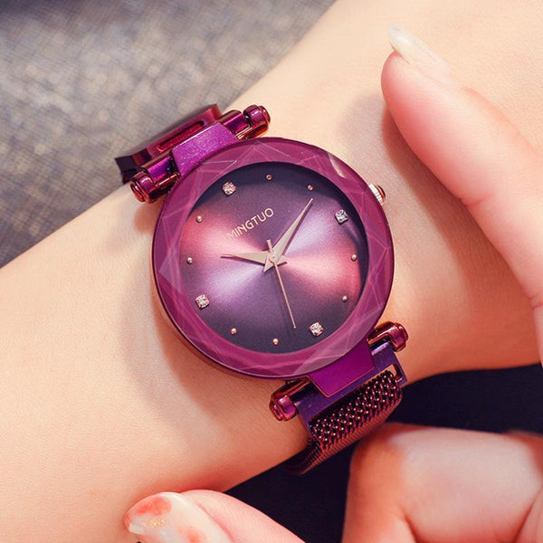 Trendinggate.com T1801CPurple-faced purple belt 2019The new shake sound net red with the same water drill star watch women's fashion Korean version waterproof simple magnetic suction female watch