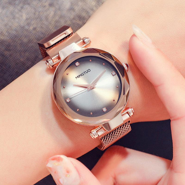 Trendinggate.com T1801CWhite flour with rose gold 2019The new shake sound net red with the same water drill star watch women's fashion Korean version waterproof simple magnetic suction female watch