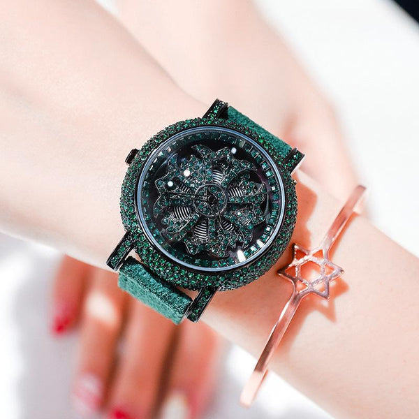 Trendinggate.com Green shell green belt 2019The new YJ will run the watch on the 6th, ladies, Internet celebrity watches, diamond set, popular Douyin, the same model.
