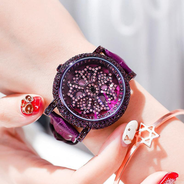 Trendinggate.com Purple shell purple belt 2019The new YJ will run the watch on the 6th, ladies, Internet celebrity watches, diamond set, popular Douyin, the same model.