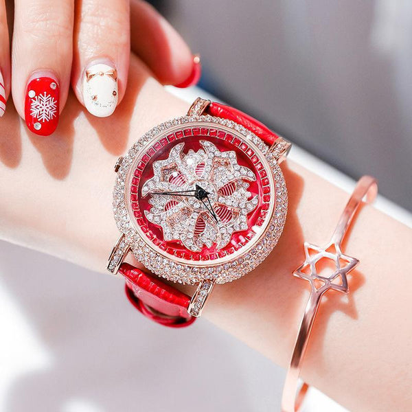 Trendinggate.com Rose shell red belt 2019The new YJ will run the watch on the 6th, ladies, Internet celebrity watches, diamond set, popular Douyin, the same model.